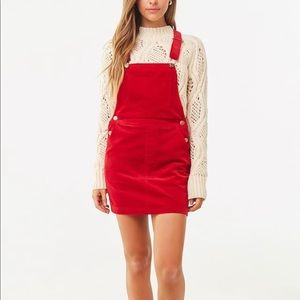 NWT FOREVER21 Red Faux Suede Mini Overall Dress